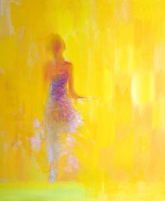 """Saatchi Online Artist: Yuri Pysar; Oil 2012 Painting """"At the Window from Ballet Series"""" I didn't know what to choose from his Ballet Series. But this yellow background just made the choice for me."""