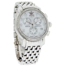 LEVIAN LADIES MEDALLION SERIES DIAMOND MOP DAY/DATE SWISS QUARTZ CHRONOGRAPH WATCH  - Polished Stainless Steel Case and Bracelet - Mother Of Pearl Dial - Silver Tone-luminous Hour and Minute Hands - Silver Tone Numeral Hour Markers - Two Chronograph Sub-dials - Day Display Sub-dial at 6:00 Position - Date Display at 4:00 Position