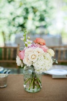 mason jar centerpieces | Scobey Photography