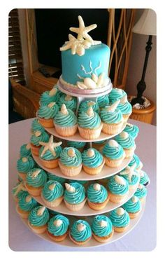 Ideas wedding cakes beach cupcakes bridal shower for 2019 Beach Cupcakes, Yummy Cupcakes, Wedding Cupcakes, Birthday Cupcakes, Seashell Cupcakes, Wedding Sweets, Ocean Theme Cupcakes, Beach Cake Birthday, Beach Theme Cakes