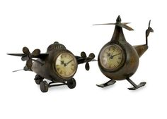 IMAX Home 12708-2 Lindbergh Aviation Clocks - Set of 2 Home Decor Clocks Desk Clocks