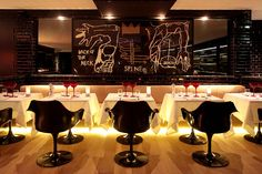 paris: la gioia restaurant opening, simple, black and white with pop of red.