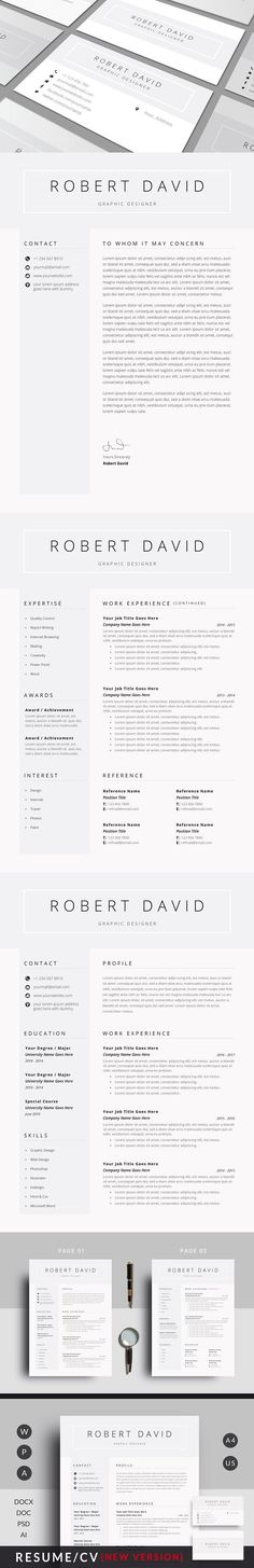 3 in 1 Resume Set (+ Screen Size) Screen size, Portfolio covers - m w resume