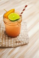 Peach Margarita   .5 cup peach puree 1 lime 1.5 ounces of tequila (or however much if you like strong drinks like me...) 1/5 ounces of triple sec (or whatever...) 1 tablespoon simple syrup sea salt and peach to garnish