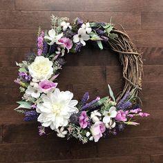 Farmhouse Wreath with Lavender Farmhouse Wreath Rustic