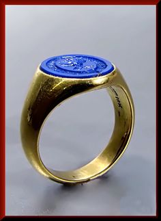 Antique Vintage VIctorian Designer Tiffany and Company Lapis Men's Signet Ring by AntiqueJewelryNyc on Etsy