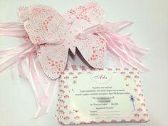 convite borboleta rendado  impresso em papel couche 180g  Borboleta papel poá 120g  tamanho do convite 9,5x 14,5 cm  Pedido minimo 30 pçs  **tag impresso nome dos convidados acréscimo de 0,30 por convite.