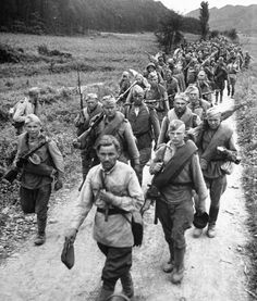 Red Army soldiers on their way to Seoul, Korea 1945.