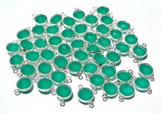 6Pcs 925 Silver Green Onyx Faceted Coin Bezel Connector Gemstone Charm Wedding Bridal Jewelry Supplies Available in 22kt Gold Vermeil