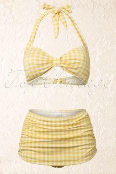 Esther Williams Swimwear - Classic Fifties Bikini Gingham Yellow White