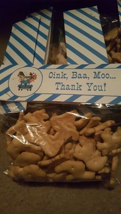 Thank you for the little ones for coming to the birthday party. Animal crackers.