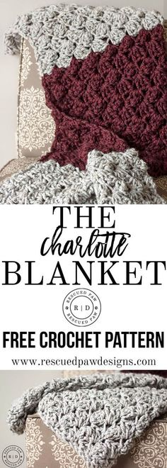 Charlotte Crochet Blanket Pattern – FREE Crochet Pattern by Rescued Paw Designs www.rescuedpawdes… Charlotte Crochet Blanket Pattern – FREE Crochet Pattern by Rescued Paw Designs www. Crochet Afghans, Easy Crochet Blanket, Crochet For Beginners Blanket, Basic Crochet Stitches, Afghan Crochet Patterns, Crochet Patterns For Beginners, Crochet Basics, Crochet Stitches For Blankets, Beginner Crochet Blankets