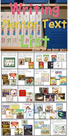 writers workshop organization with free mentor text lists for writing instruction. Picture books to help teach writing traits in your own kindergarten and grade classroom. Writing Mentor Texts, Writing Traits, Writing Strategies, Writing Lessons, Narrative Writing, Mentor Sentences, Writing Ideas, Paragraph Writing, Writing Rubrics