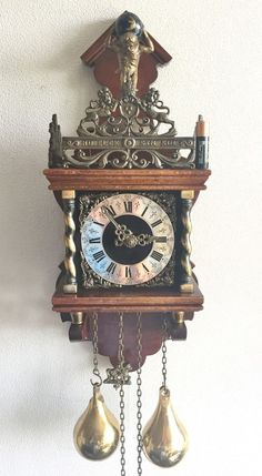 Warmink Dutch Vintage Weight Driven & Strikes To Bell Nut Wood Zaanse Wall  Clock