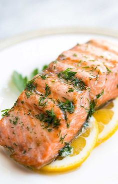 Salmon with Dill Butter ~ Simple and easy, grilled salmon with dill butter and lemon. Low carb and paleo too! ~ Grilled Salmon with Dill Butter ~ Simple and easy, grilled salmon with dill butter and lemon. Low carb and paleo too! Sous Vide Salmon Recipes, Grilled Salmon Recipes, Sous Vide Shrimp Recipe, Tilapia Recipes, Grilled Fish, Dill Recipes, Seafood Recipes, Healthy Recipes, Orange Recipes