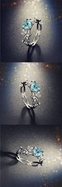 Beautiful Crystal Leaf Engagement Ring ! #jewelry #rings #crystal