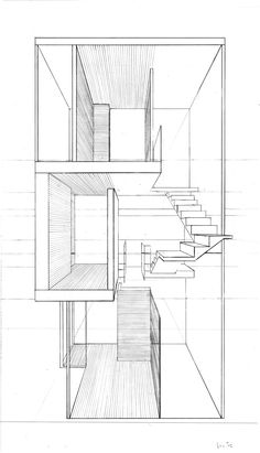 Double House Perspectival Sect by TaiGuy on DeviantArt School Architecture, Modern Architecture, Architecture Layout, Villa, House Roof, My House, Coupes Architecture, Double House, Co Housing