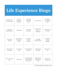 life experience bingo office bingo office party games people bingo free printable bingo