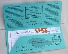 Turquoise, Orange and Navy Hibiscus, Palm Tree and Sea Shell Jamaican Airline Ticket Wedding Invitations