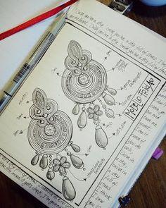 Soutache Pattern, Soutache Tutorial, Soutache Earrings, Beaded Brooch, Handmade Beaded Jewelry, Earrings Handmade, Shibori, Jewelry Design Drawing, Terracotta Jewellery