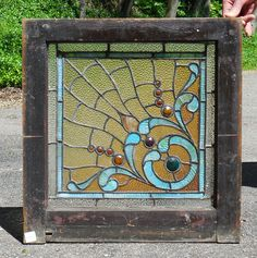 Sharing is caring!  G14043 - Antique Late Victorian Stained Glass Window #https://www.pinterest.com/munlimited/