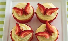 Strawberry Butterfly Cupcakes | Victorian Strawberry Industry Development Committee slices of reserved strawberries. To form butterflies cut 2 slices lengthways down the middle of a strawberry. Cut each slice in half lengthways (this forms the wings for 2 butterflies). Cut 2 slivers from the strawberry offcuts to form 2 butterfly bodies. Place on top of two iced cupcakes to form butterflies.