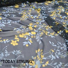Items similar to Small Floral Print Black Silk Fabric Crepe Georgette Fabrics for Sewing Width 55 inch on Etsy