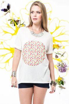T-Shirt Círculo Estampa Folhas R$ 129,90 - Terra da Garoa Verão 16 - Moda Sustentável feita com amor