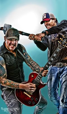 Dan Swinimer (swinging hammer) and Flip Freig (playing guitar about to be hit) of Jet Black Stare. These guys are hilarious!