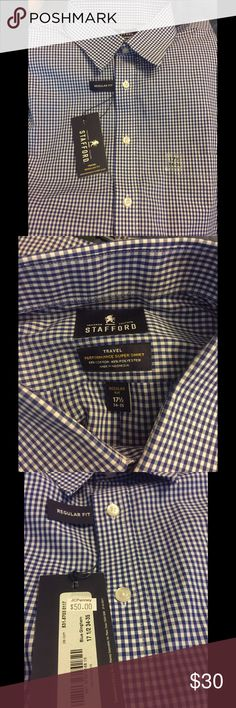 Checkered blue and white button up Never been worn! Still has tags, plastic and pins have been removed. From JCP. Size 34-35, neck 17 1/2 Stafford Shirts Dress Shirts