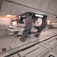 3d sci fi hangar interior scene model