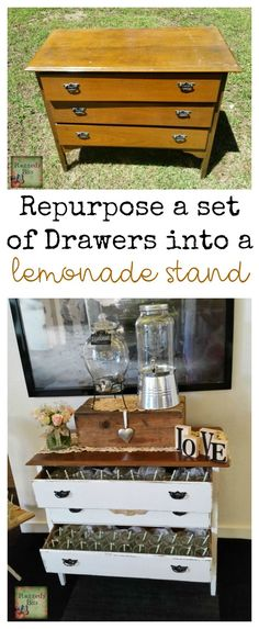 Sad Old Drawers turned Lemonade Stand for a very special day! I was asked recently to provide a lemonade stand and some vintage games for a couples wedding.
