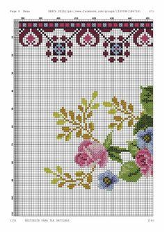 Hippie Crochet, Greeks, Crossstitch, Cross Stitch Embroidery, Needlework, Chart, Flowers, Temporary Work, Pink Tablecloth