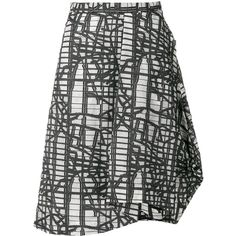 Chalayan asymmetric graphic print skirt (50.985 RUB) ❤ liked on Polyvore featuring skirts, black, a-line skirts, knee length a line skirt, asymmetric hem skirt, chalayan and asymmetrical skirt