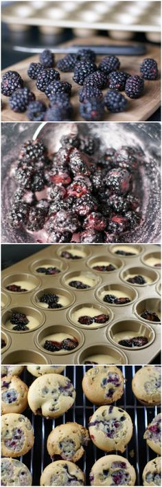 Easy and delicious breakfast recipe for Blackberry Mini-Muffins from 5DollarDinners.com