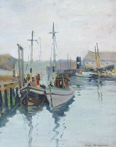 """""""Gloucester Harbor,"""" Jane Peterson, oil on canvas, 14.25 x 11"""", private collection."""