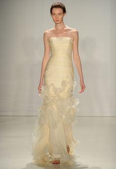 Textured Gold Fit-and-Flare Wedding Dress | Amsale Fall 2015 Wedding Dresses | Maria Valentino/MCV Photo | Blog.theknot.com