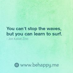 """""""You can't stop the waves,  but you can learn to surf."""""""