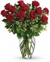 Have an anniversary coming up? Show them that they are always on your mind with these dozen long stemmed roses (you choose the color)