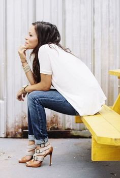 heels, rolled jeans + roomy top.