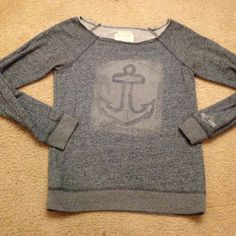 Super cute like new sweatshirt by Billabong Super cute like new anchor distressed looking sweatshirt by Billabong price firm Billabong Sweaters
