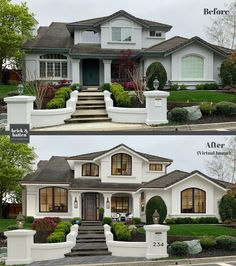25 Front Porch Decorating Ideas to Make Your Entry More Inviting | brick&batten Stucco Homes, Stucco Exterior, House Paint Exterior, Exterior Paint Colors, Paint Colors For Home, Exterior Design, Home Exterior Makeover, Exterior Remodel, Style At Home