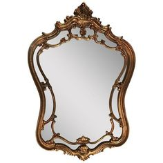 Vintage Ornate Arched Gold Mirror ($159) ❤ liked on Polyvore featuring home, home decor, mirrors, gold wall mirror, ornate mirror, gold mirror, gold home accessories and vintage wall mirrors