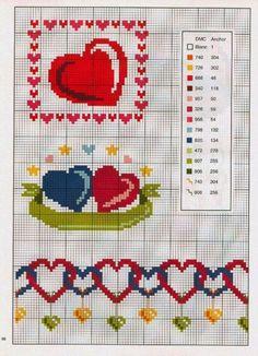 X-stitch hearts patterns Cross Stitch Heart, Cross Stitch Borders, Cross Stitch Designs, Cross Stitching, Embroidery Hearts, Cross Stitch Embroidery, Beading Patterns, Embroidery Patterns, Wedding Cross Stitch Patterns