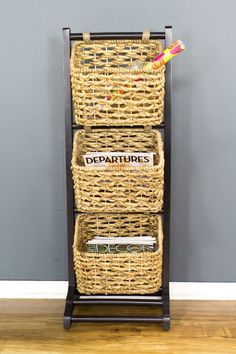 Brown Wood, MDF, and Water Hyacinth Magazine Rack with 3 Baskets Basket Shelves, Storage Baskets, Storage Spaces, Home Decor Shops, Home Decor Items, Water Hyacinth, Brown Wood, Unique Home Decor, Accent Furniture