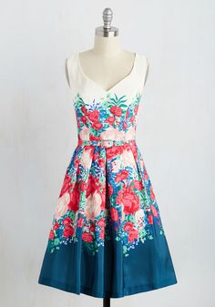 Flatters All Expectations Dress. You predicted that this floral A-line would be a pretty addition to your closet, but you never guessed it would be such a gorgeous go-to piece! #multi #prom #modcloth