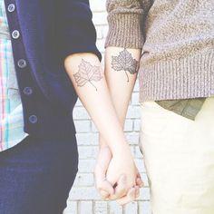 leaf couples tattoo | fall autum tattoo | matching tattoos | InkedWeddings.com