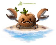 Daily Paint Coconut Crab by Cryptid-Creations on DeviantArt Cute Food Drawings, Cute Animal Drawings, Kawaii Drawings, Cartoon Art, Cute Cartoon, Anime Animals, Cute Animals, Animal Puns, Animal Food
