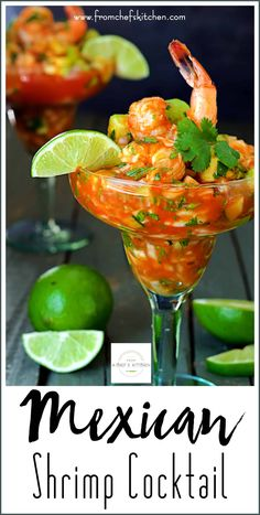 "Mexican Shrimp Cocktail, otherwise known as Cóctel de Camarónes, doesn't resemble an American shrimp at all. This version is almost like a ""salad in a glass!"" It's chock full of crunchy vegetables and shrimp in a spicy, tangy tomato sauce. Mexican Shrimp Cocktail, Mexican Shrimp Recipes, Mexican Appetizers, Fish Recipes, Seafood Recipes, Appetizer Recipes, Healthy Recipes, Shrimp Cocktail Recipes, Shrimp Coctail"