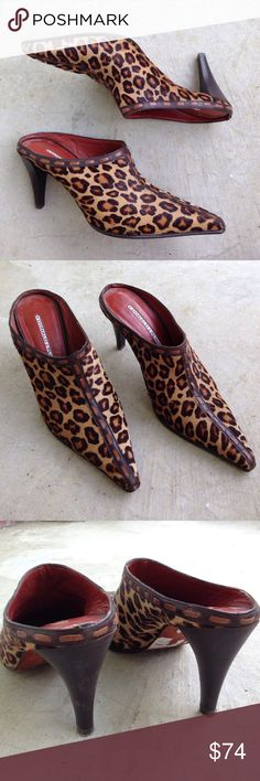 """Donald Pliner cheetah animal print calf hair mules Mule booties slides from Donald Pliner. Leopard print with brown leather center trim. Wood stacked 3"""" heel. Donald J. Pliner Shoes Mules & Clogs"""